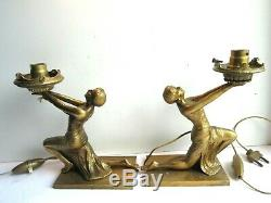Rare 2 Bronze Table Lamps, Art Deco, Egyptian Woman Holding Light