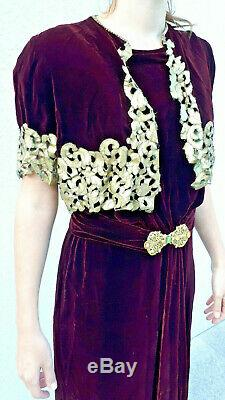 Rare Authentic Beautiful Burgundy Velvet Dress 1920 20s Art Deco Dress