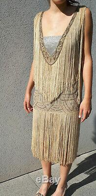 Rare Authentic Beautiful Dress Fringed 1920 Art Deco 20s Flappers Dress