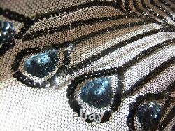 Rare Era Prom Dress 1925 Charleston Art Deco Decor Peacock Beads Jet