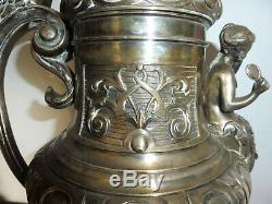 Rare Gas Lamp A Argente Bronze Art Nouveau Women No Oil Oil Lamp