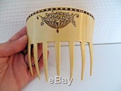 Rare Large Comb Art Deco Sign Auguste Bonaz Old Hair Comb