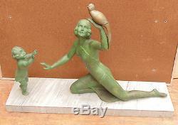 Rare Large Statue Art Deco Marble Pedestal Regulates Child Female Birds Signed Melaut