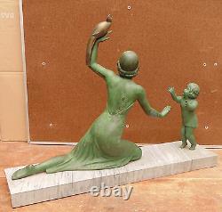 Rare Large Statue Art Deco Regulated Base Marble Child Woman Birds Signed Melaut