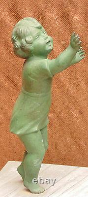 Rare Large Statue Art Deco Regulates Bedrock Marble Child Woman Birds Signed Melaut