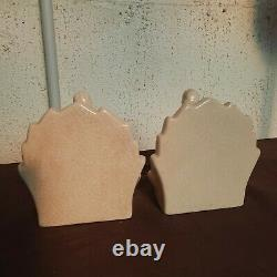Rare Paire Of Serre Live Woman Ceramique Crackle Art Deco LV - Ceram
