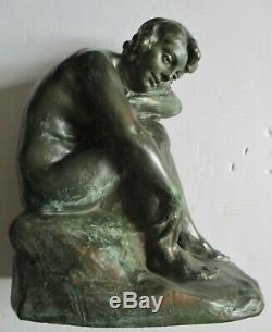 Rare Sculpture Statue Alfred Finot For Amalric Walter Art Nouveau / Deco Woman