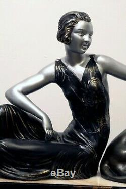 Rare Statue Art Deco Woman Panthere 1920/1930 Limousin
