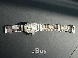 Rare Watch Shows Gold Diamond Women Vintage Art Deco Punched Silver Bracelet