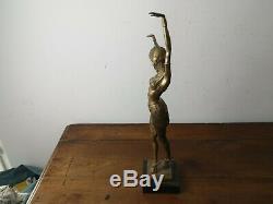 Recent Modern Sculpture Art Deco Style Woman Dancer After Chiparus