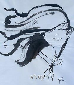 René Gruau Woman Hair With Wind Ink On Paper Signed