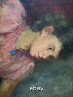 René Thomsen Portrait Oil On Canvas School Of Paris Young Woman
