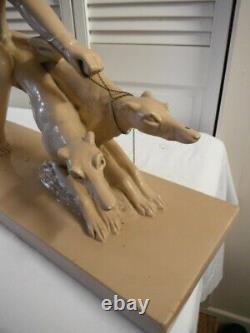 Salvatore Melani (1902-1934) Sculpture Art Deco Plaster Patinated Woman In Greyhound