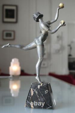 Sculpture Art Deco 1930 Statue Woman Dancer Bowls Assigned Balleste