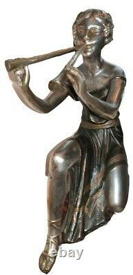 Sculpture Art Deco Former Woman With Flute In Silver And Galalith Regulated