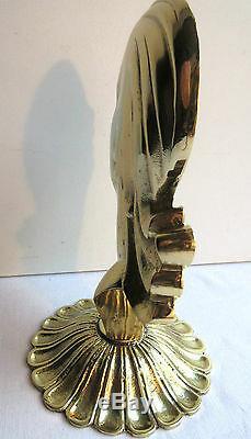 Sculpture Art Deco, Massive Gilt Bronze Woman Bust On Pedestal Bookend