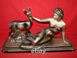 Sculpture Art Deco Platre By Cipriani La Femme Et La Deiche Antique French