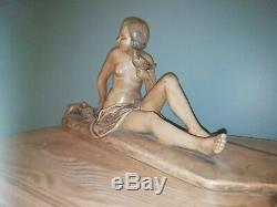 Sculpture Art Deco Signed Terracotta Women In Colombes