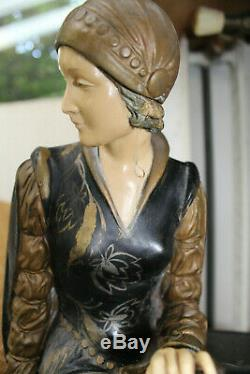 Sculpture Art Deco Woman Chryselephantine