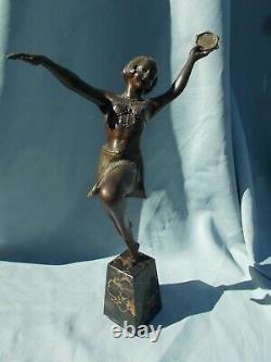 Sculpture Art Deco Woman Dancer With Tambourine Statue In Regulated Bronze Color