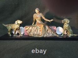 Sculpture Art Deco Woman With Regulated Dogs And Marble