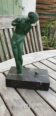 Sculpture Bronze Art Deco Raymonde Guerbe Woman At The Frog Patina Green