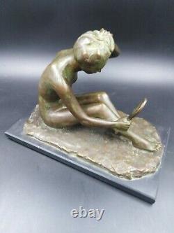 Sculpture Bronze Young Woman Naked Art-deco Max The Larrrier Chiparus Balleteste