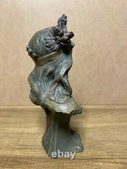 Sculpture Bust Of Woman Crown Terracotta Signed Alfred Foretay Art Nouveau