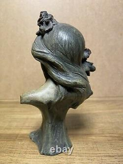 Sculpture Bust Of Woman Earth Cuite Signed Alfred Foretay Art Nouveau
