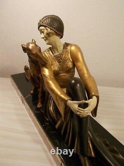 Sculpture Chryselephantine Art Deco 1930 A. Godard Statue Woman To Greyhound Dog