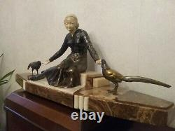 Sculpture Chryselephantine Art Deco 1930 Statue Woman With 84 CM