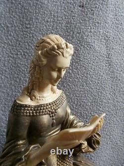 Sculpture Deco Statue R. Lullier Elegant Woman Greyhound Dog Art Statuette