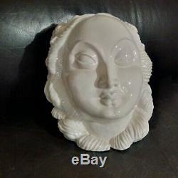 Sculpture Earthenware Art Deco Paris Nelly Pollak & Paul Bocquillon Face Woman