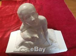 Sculpture Group In Faience Ceramic Art Deco Sign Naked Lady Hawk Eagle