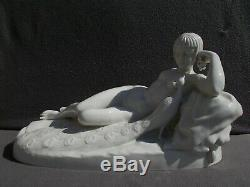 Sculpture Naked Woman Art Deco Statue Signed Porcelain Figurine Vintage Nude Woman