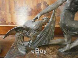 Sculpture Regulates Woman Roosters Signed G Arisse, Art Deco