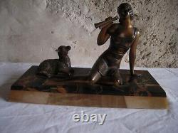 Sculpture Regule Art Deco, Young Woman And Sheep