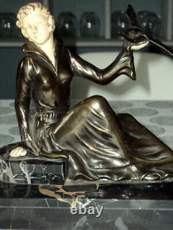 Sculpture Statue Chryselephantine Regulated Doré Woman With Swans Art Deco 1920/30