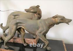 Sculpture, Statue Chryselephantine Woman At Levriers Art Deco