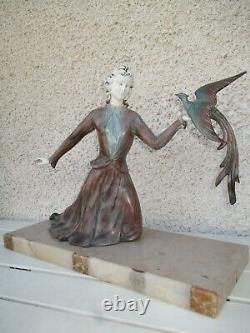 Sculpture Statue Regulates Art Deco Chryselephantine Woman - The Bird Pan
