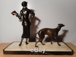 Sculpture Statue Regulates Art Deco Woman Chryselephantine Greyhound Marble Base