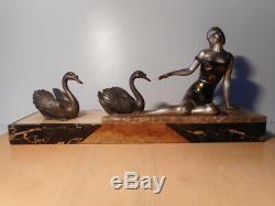 Sculpture Statue Regulates Art Deco Woman Swan Marble Base
