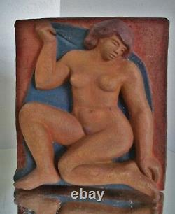 Sculpture Statue Terracotta Art Deco Modernist Woman, Artist To Identify