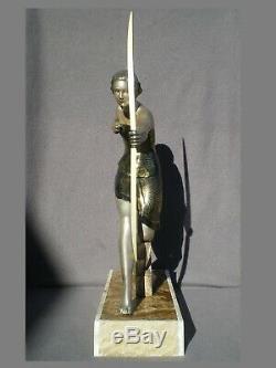 Sculpture Woman Archer Art Deco Uriano Chryselephantine Statue Antique Woman 30s