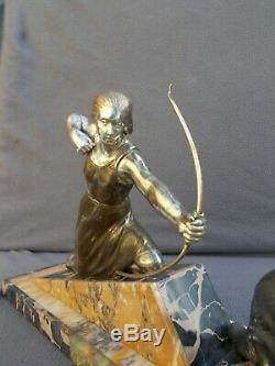 Sculpture Woman & Art Deco Lever Vintage Spelter Figural Statue Woman & Barzoi