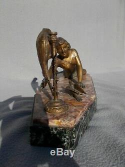Sculpture Woman & Parrot Art Deco Vintage Spelter Statue Figural Woman Parrot