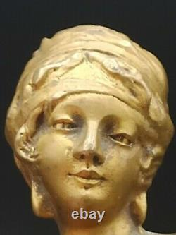 Seal Stamp In Bronze Signed Cassonnet Representing A Bust Of Woman Art Deco