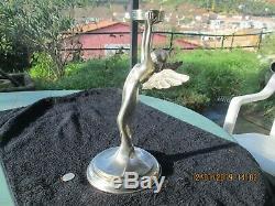 Silvered Bronze Statuette Winged Woman Art Deco Trophy Art