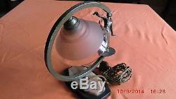 Small Lamp Sculpture Woman Bronze Silver Art Deco / Base Marble / Lamp