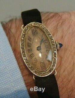 Small Solid Gold Women's Watch Sparkling Diamonds Art Deco Gold Diamonds Watch